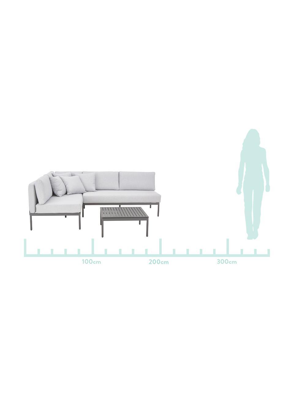 Garten-Lounge-Set Linden, 2-tlg. in Hellgrau, Bezug: 100% Polyester Der hochwe, Gestell: Metall, pulverbeschichtet, Tischplatte: Holz-Kunststoff-Verbundwe, Gestell: Metall, pulverbeschichtet, Grau, Set mit verschiedenen Größen