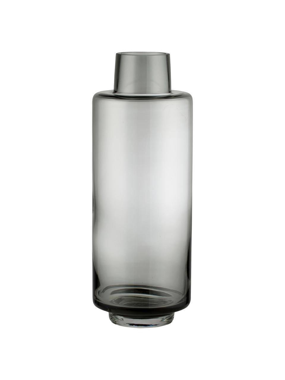 Große Mundgeblasene Vase Hedria, Glas, Rauchgrau, Ø 11 x H 30 cm