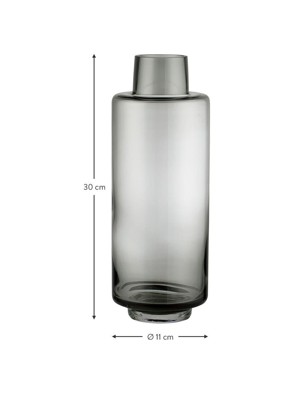 Duży wazon ze szkła dmuchanego Hedria, Szkło, Ciemnoszary, Ø 11  x W 30 cm