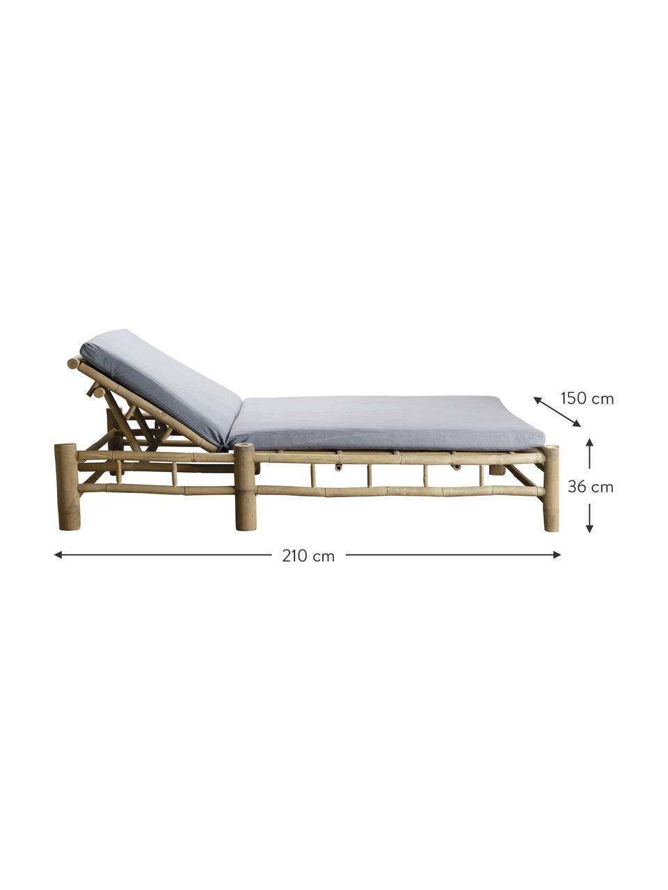 XL Bambus-Gartenliege Bambed mit Polsterauflage, Gestell: Bambus, Bezug: 100% Baumwolle, Grau, Braun, 150 x 210 cm