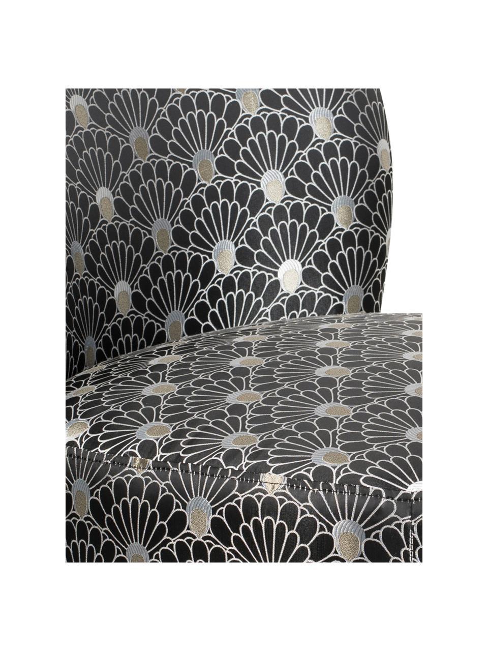 Poltrona da cocktail di design Well Dressed, Rivestimento: poliestere 30 000 cicli d, Gambe: legno di caucciù, Piedini: metallo rivestito, Nero, grigio argento, Larg. 65 x Alt. 83 cm