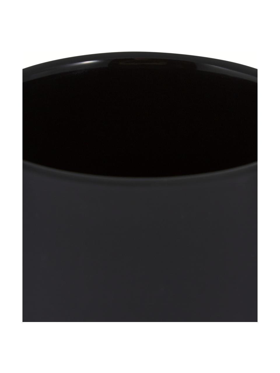 Seifenspender Ume aus Steingut, Behälter: Steingut überzogen mit So, Schwarz, matt, Ø 8 x H 13 cm