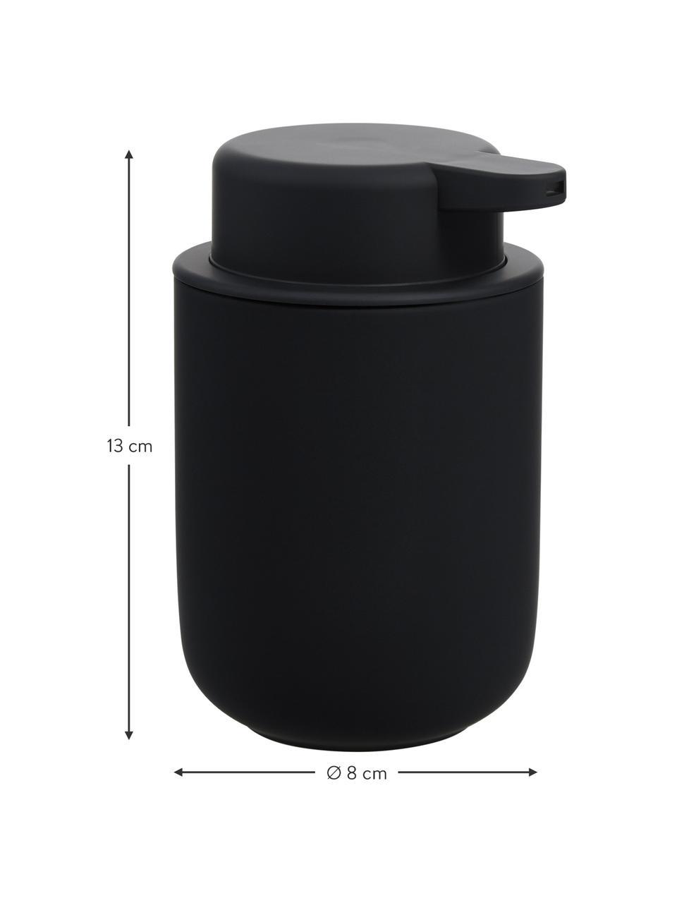Dispenser sapone in gres Ume, Contenitore: gres rivestita con superf, Nero opaco, Ø 8 x Alt. 13 cm