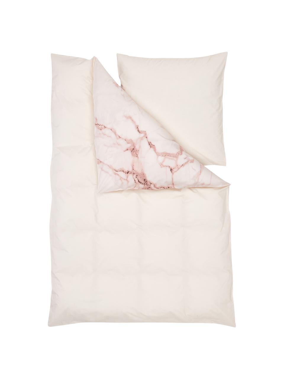 Pościel z perkalu Malin, Wzór marmurowy, różowy, 135 x 200 cm + 1 poduszka 80 x 80 cm