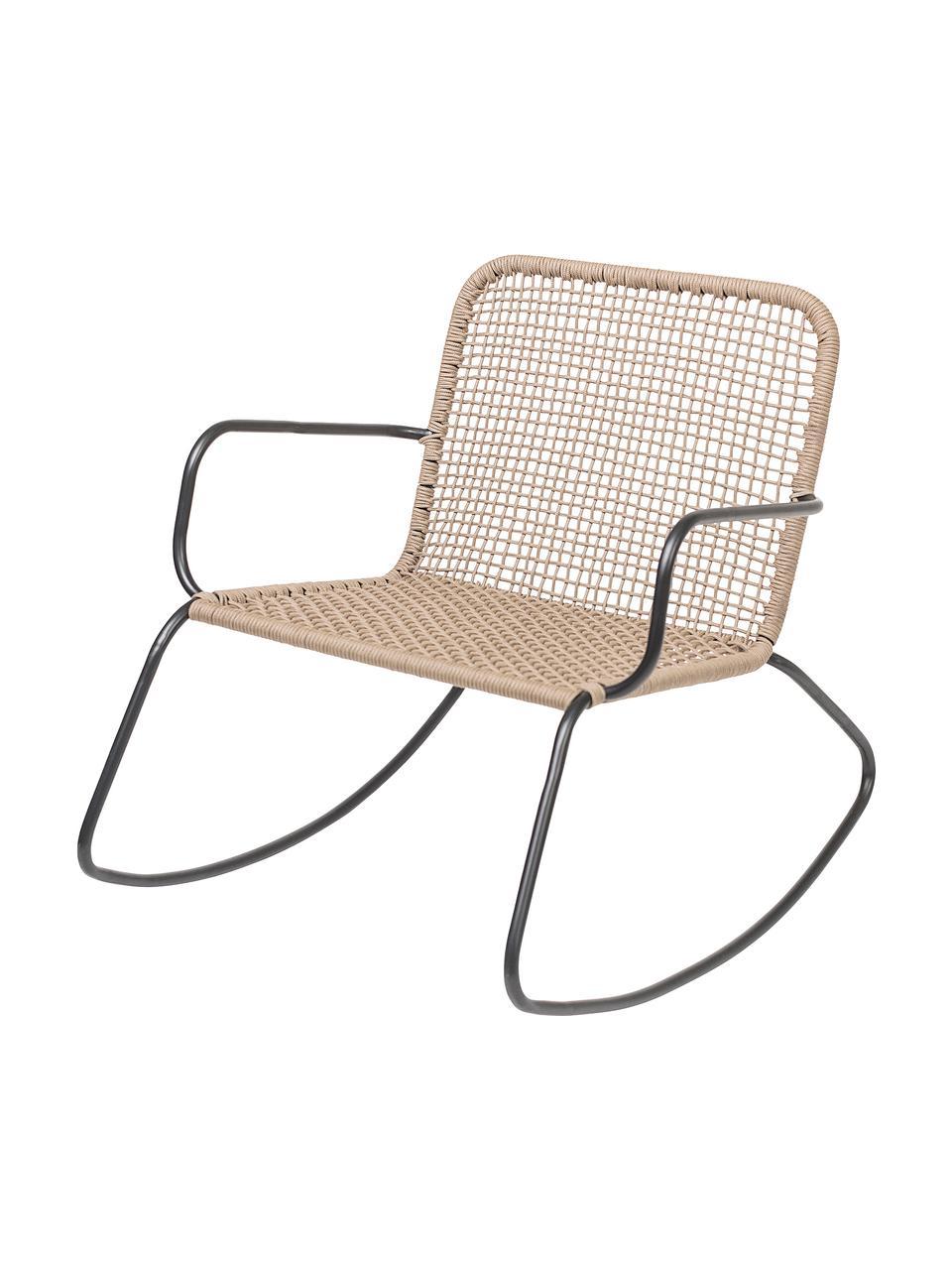 Rotan schommelstoel Mundo met metalen frame, Frame: gepoedercoat metaal, Zitvlak: polyethyleen, Zwart, beige, B 73 x D 89 cm