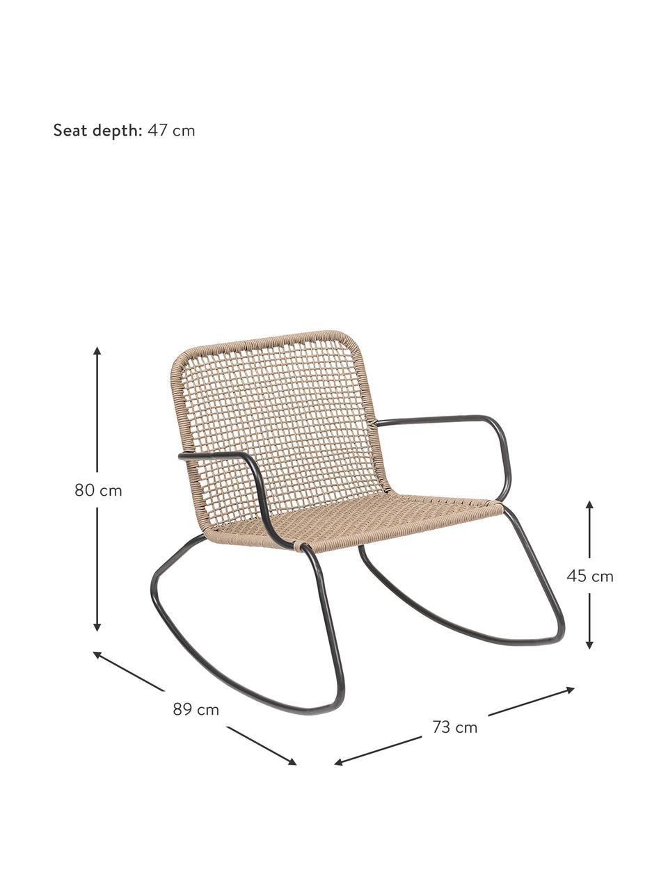 Rattan-Schaukelstuhl Mundo mit Metall-Gestell, Gestell: Metall, pulverbeschichtet, Sitzfläche: Polyethylen, Beige, B 73 x T 89 cm