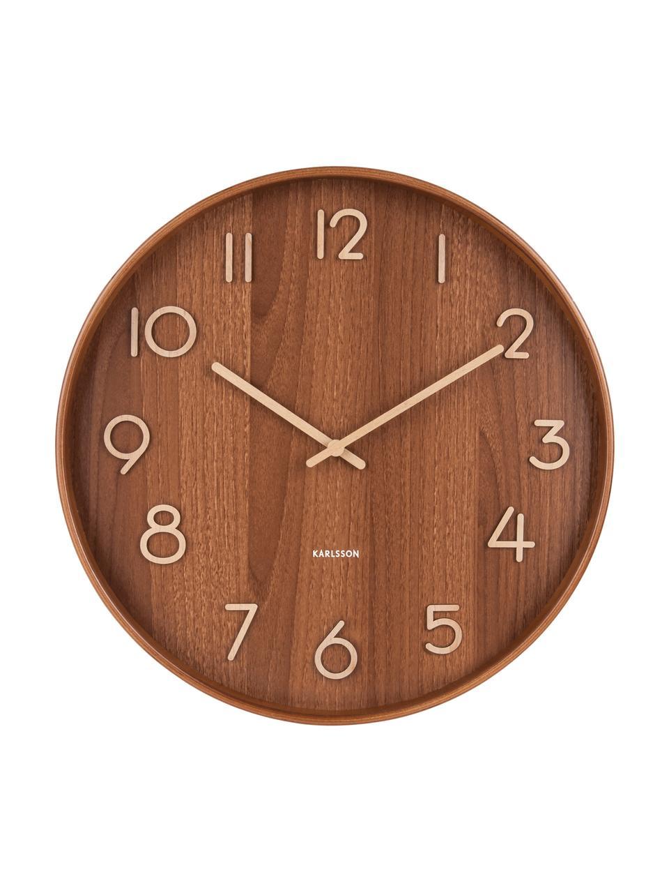 Zegar ścienny Pure, Drewno naturalne, Brązowy, beżowy, Ø 60 cm
