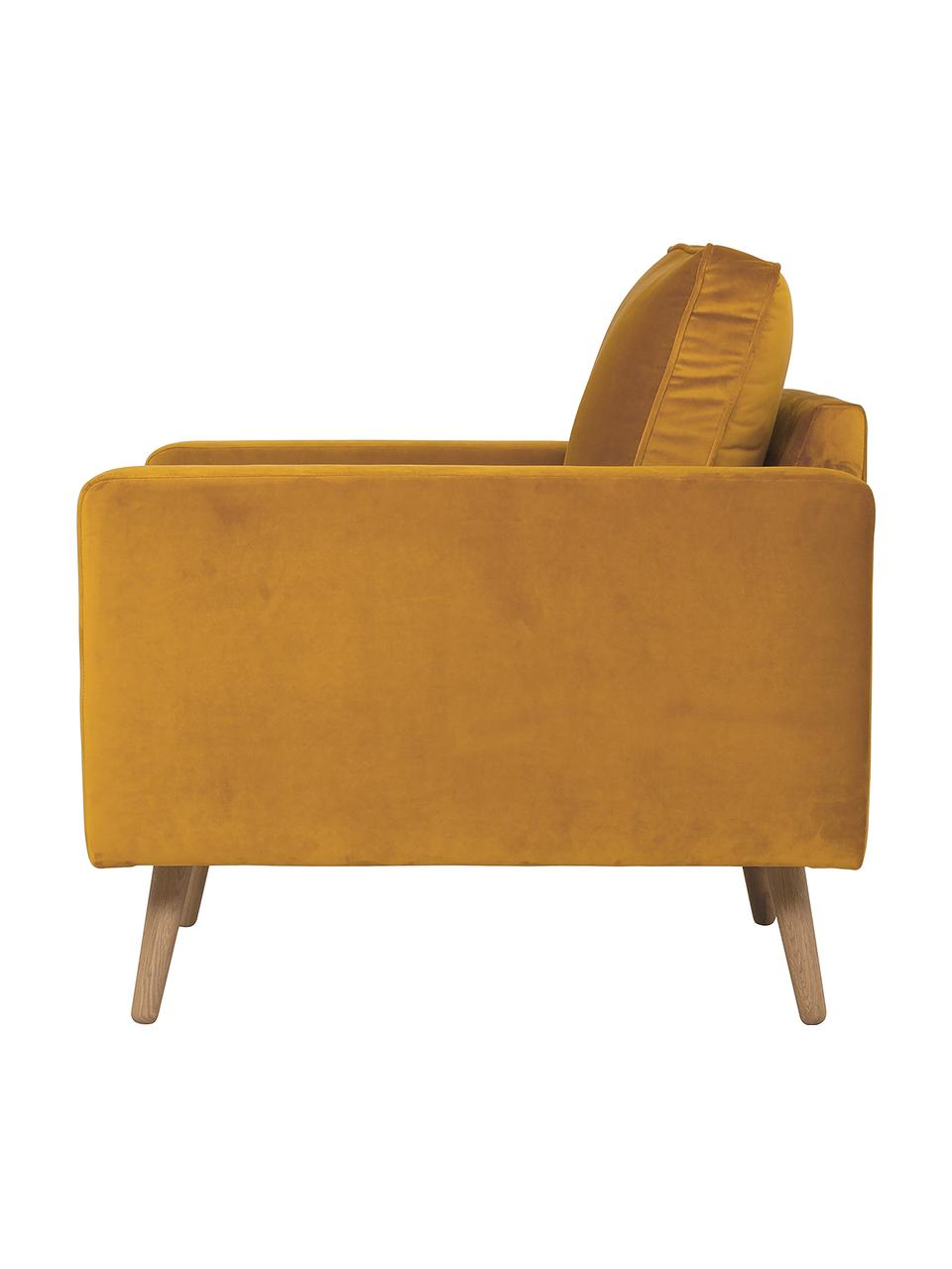 Samt-Sessel Saint in Senfgelb mit Eichenholz-Füßen, Bezug: Samt (Polyester) Der hoch, Gestell: Massives Eichenholz, Span, Samt Senfgelb, B 85 x T 76 cm