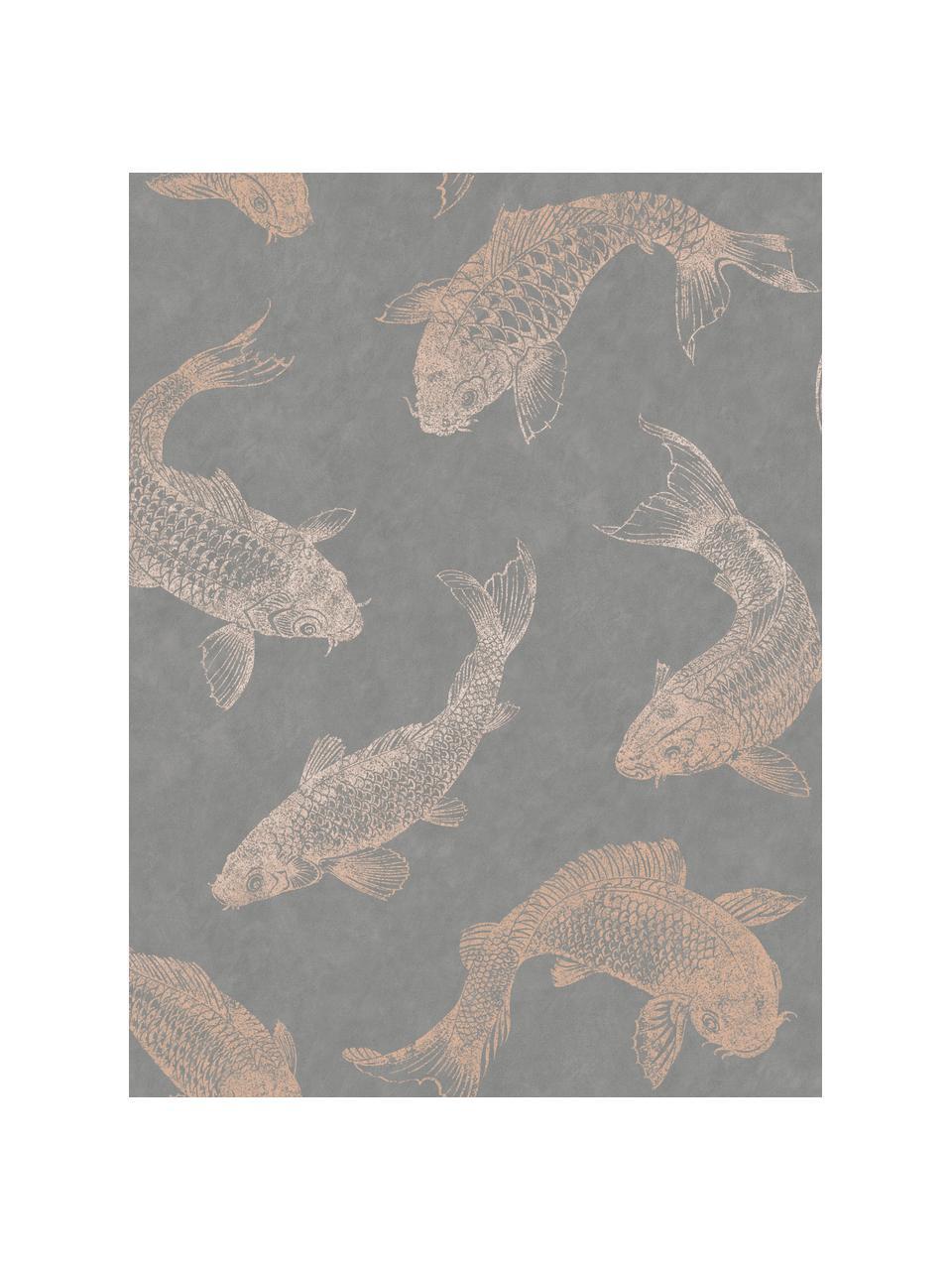 Tapete Koi, Vlies, Grau, Beige, 52 x 1005 cm