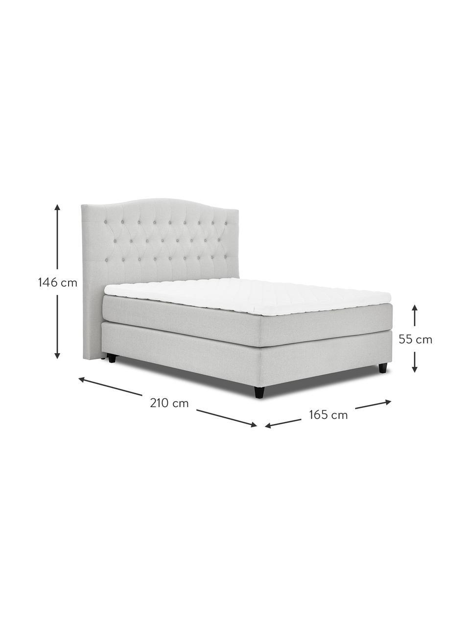 Premium boxspring bed Royal in wit-grijs, Matras: 5-zones pocketvering, Poten: massief gelakt berkenhout, Geweven stof wit-grijs, 200 x 200 cm
