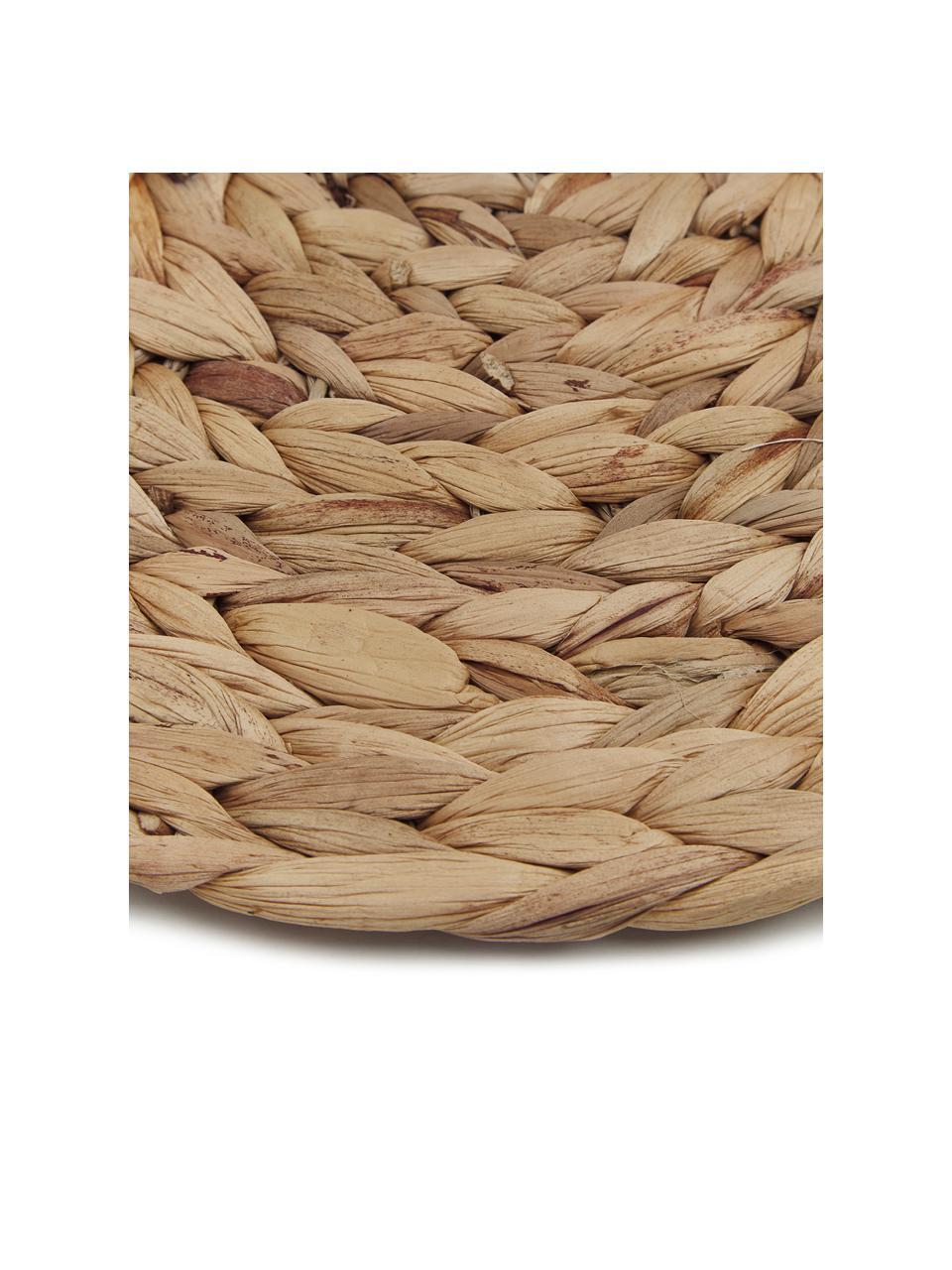 Ronde placemats Wanda van waterhyacint, 4 stuks, Waterhyacint, Beige, Ø 35 cm