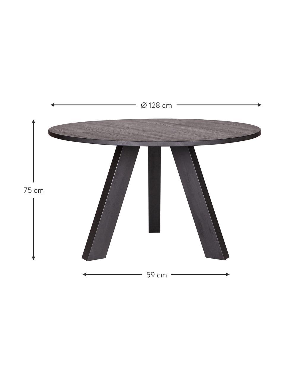 Okrągły stół do jadalni z litego drewna Rhonda, Lite drewno dębowe, Czarny, Ø 128 x W 75 cm