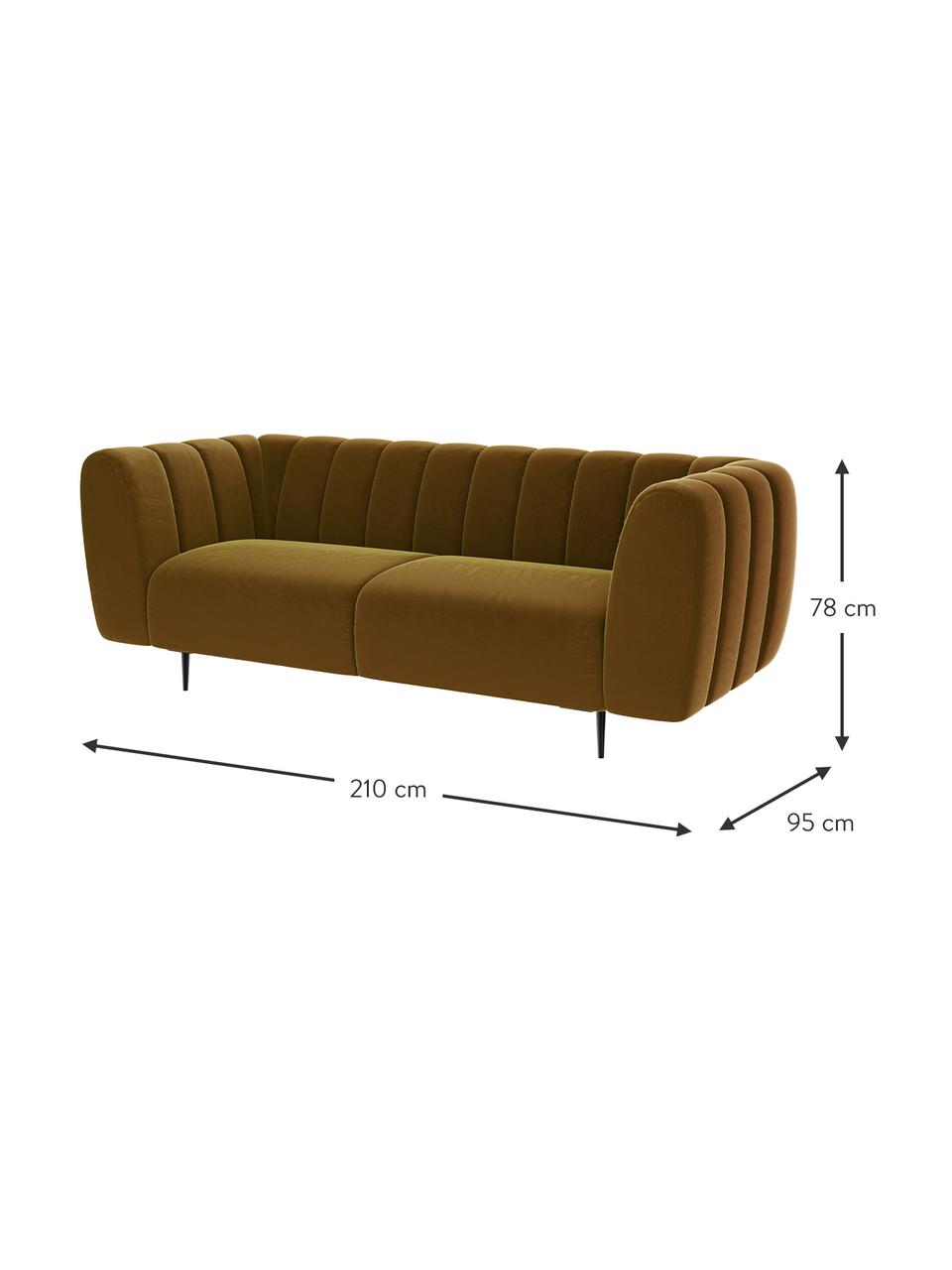 Sofa z aksamitu Shel (3-osobowa), Tapicerka: 100% aksamit poliestrowy, Stelaż: drewno liściaste, drewno , Nogi: metal powlekany Dzięki tk, Musztardowy, S 210 x G 95 cm