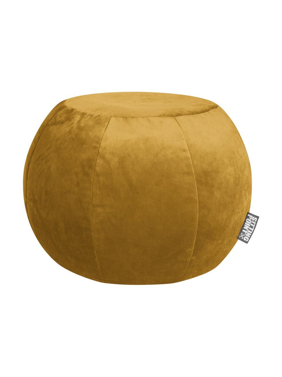 Pouf in velluto Plump Veluto, Rivestimento: velluto di poliestere, Giallo senape, Ø 75 x Alt. 50 cm