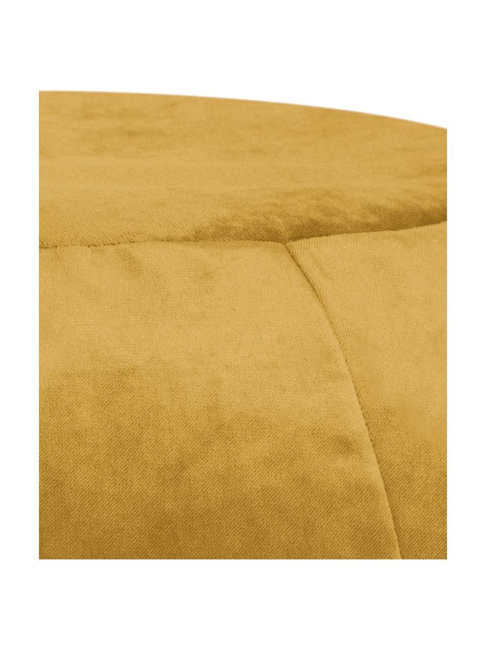 Puf z aksamitu Plump Veluto, Tapicerka: aksamit poliestrowy, Musztardowy, Ø 75 x W 50 cm