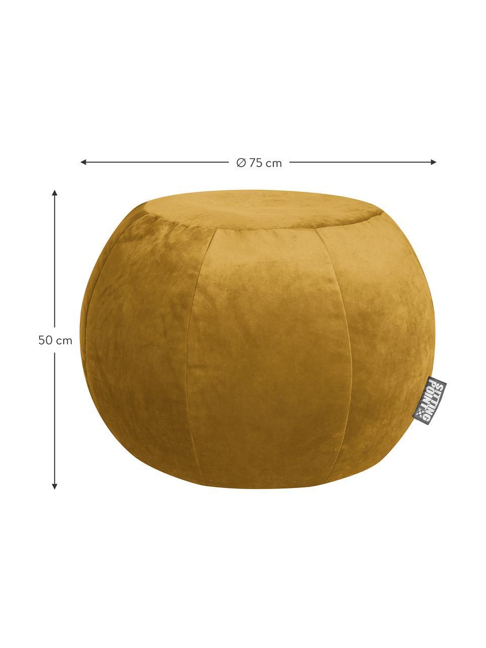 Samt-Pouf Plump Veluto, Bezug: Polyestersamt, Senfgelb, Ø 75 x H 50 cm