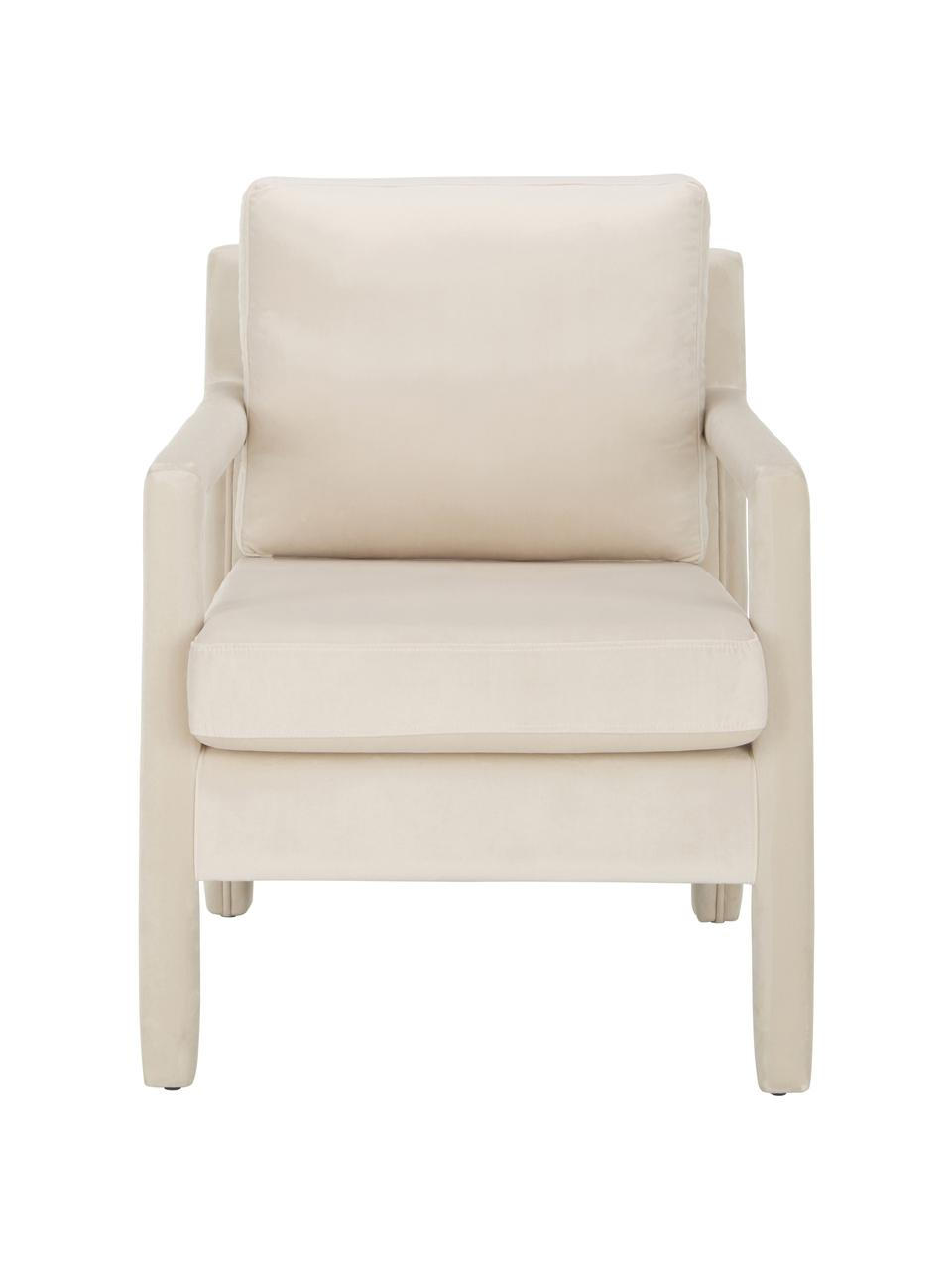 Samt-Sessel Claudette in Beige, Bezug: Samt (100% Polyester) Der, Gestell: Massives Kiefernholz, Spe, Beige, B 65 x T 75 cm