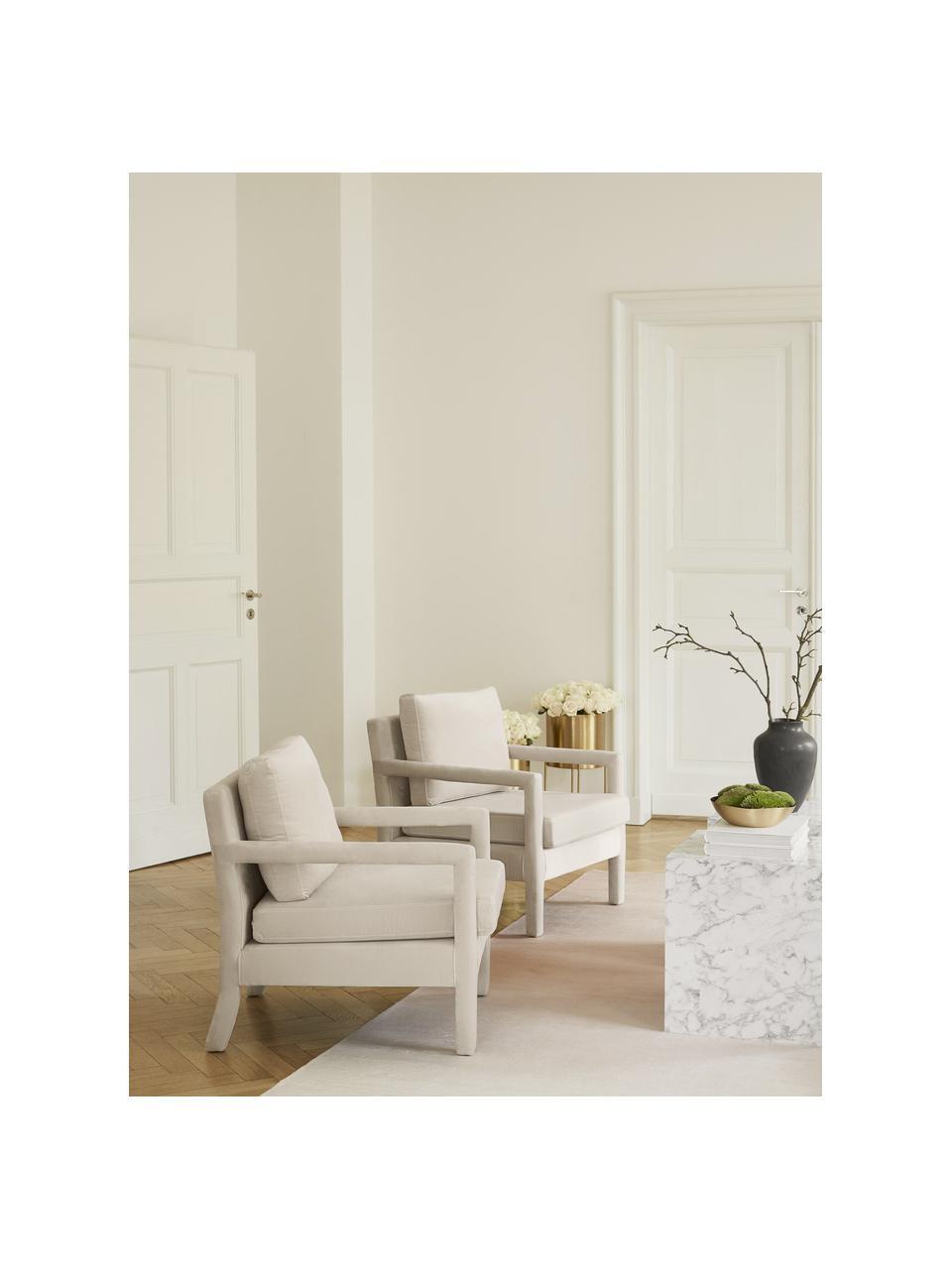 Fluwelen fauteuil Claudette in beige, Bekleding: fluweel (100% polyester), Frame: massief grenenhout, multi, Beige, 65 x 75 cm