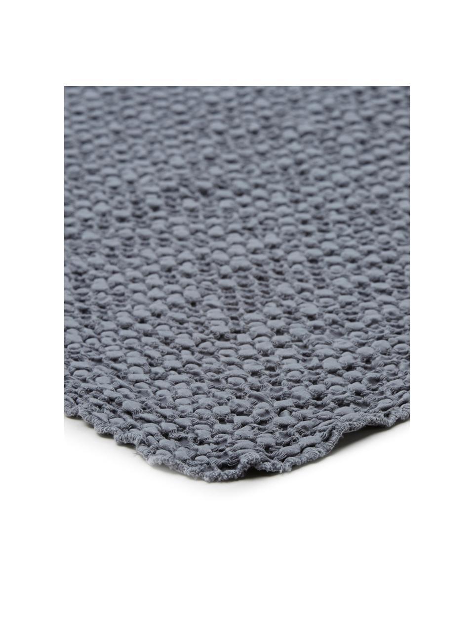 Couvre-lit coton gris à surface texturée Vigo, Bleu foncé