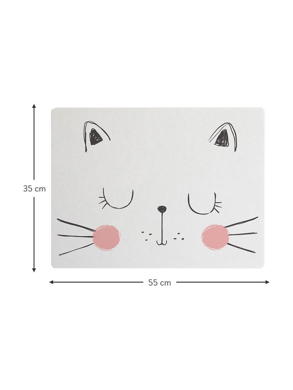 Tischset Cat, Jute- und Harzfaser, Weiß, Rosa, Schwarz, 35 x 55 cm