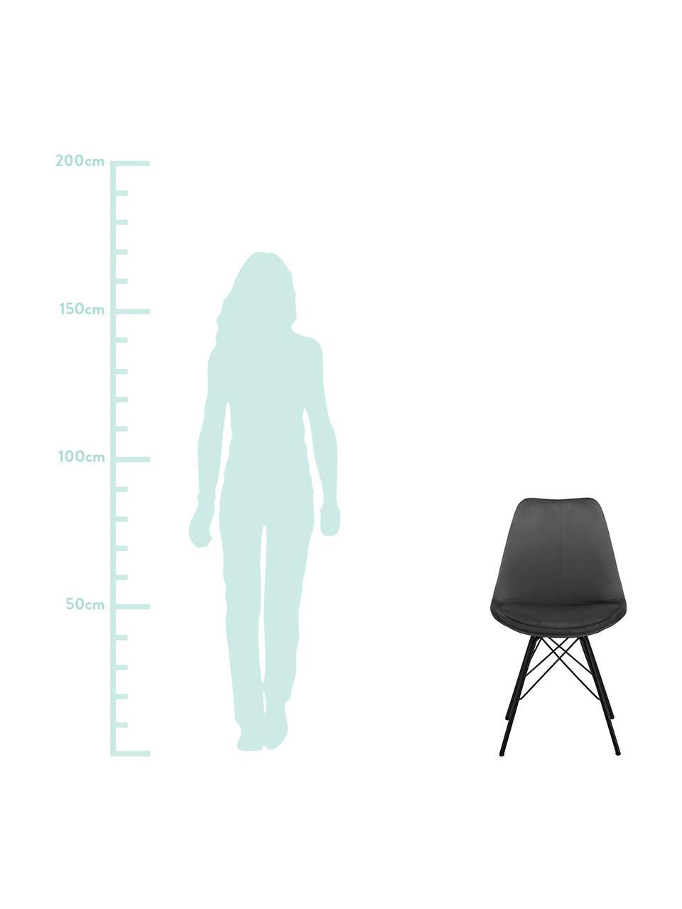 Krzesło tapicerowane z aksamitu Eris, 2 szt., Tapicerka: aksamit poliestrowy Dzięk, Nogi: metal malowany proszkowo, Aksamitny ciemny szary, nogi: czarny, S 49 x G 54 cm