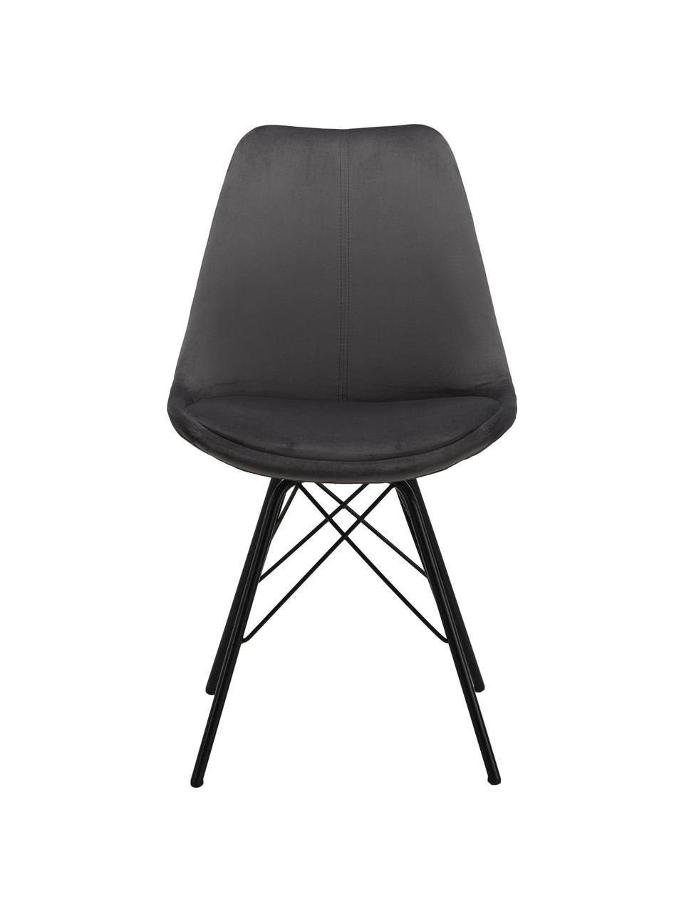 Chaise en velours rembourrée Eris, 2pièces, Velours gris foncé, pieds noir