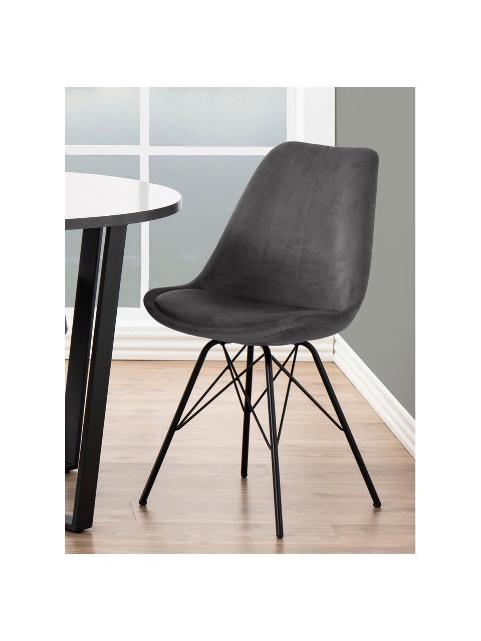 Fluwelen stoelen Eris, 2 stuks, Bekleding: polyester fluweel, Poten: gepoedercoat metaal, Fluweel donkergrijs, poten zwart, B 49 x D 54 cm