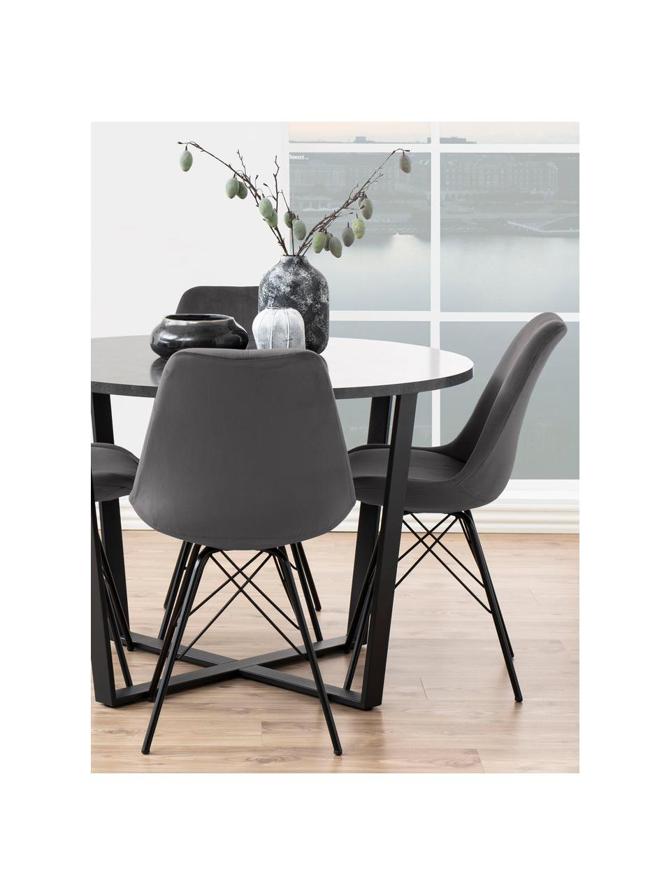 Fluwelen stoelen Eris in donkergrijs, 2 stuks, Bekleding: polyester fluweel, Poten: gepoedercoat metaal, Fluweel donkergrijs, poten zwart, B 49 x D 54 cm
