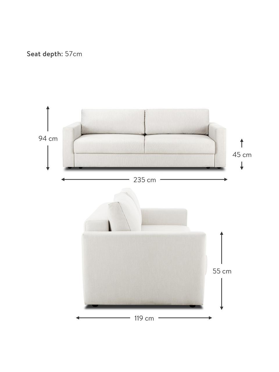 Sofa rozkładana z aksamitu Tasha, Tapicerka: 100% poliester Dzięki tka, Stelaż: lite drewno sosnowe, skle, Nogi: tworzywo sztuczne, Beżowy, S 235 x G 100 cm
