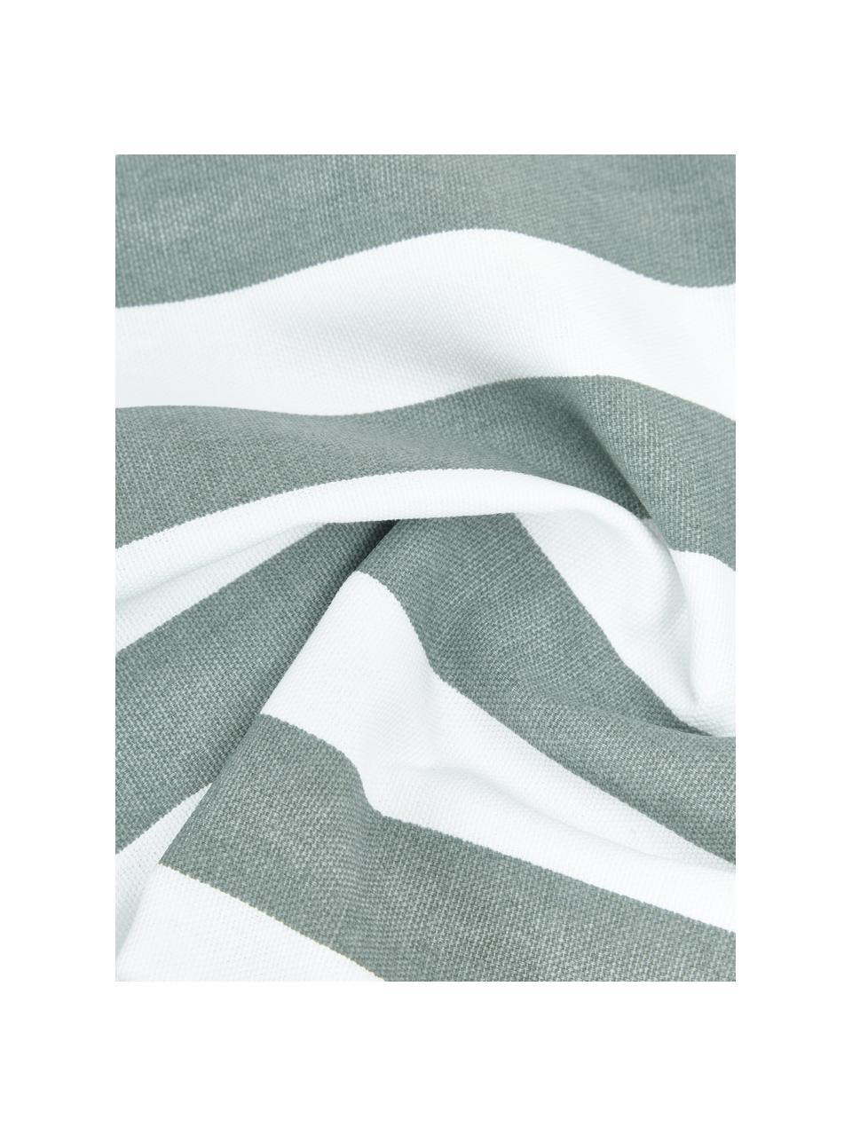 Gestreifte Kissenhülle Timon in Salbeigrün/Weiß, 100% Baumwolle, Grün, 30 x 50 cm