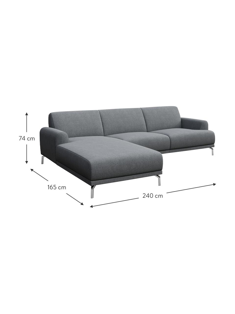 Sofa narożna Puzo, Tapicerka: 100% poliester, Nogi: metal lakierowany, Jasny szary, S 240 x G 165 cm