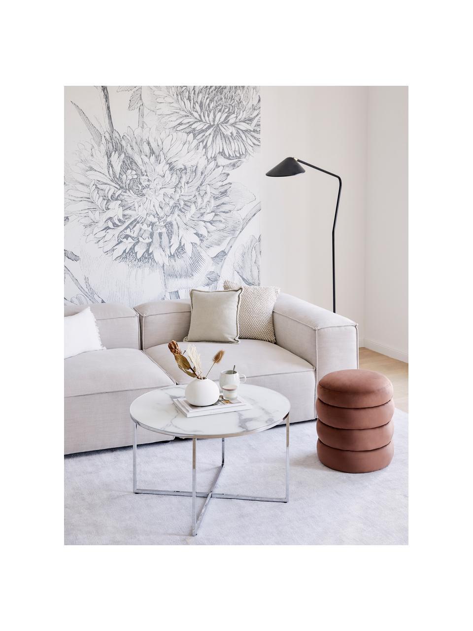 Couchtisch Antigua mit marmorierter Glasplatte, Tischplatte: Glas, matt bedruckt, Gestell: Metall, verchromt, Weiß-grau marmoriert, Chrom, Ø 80 x H 45 cm