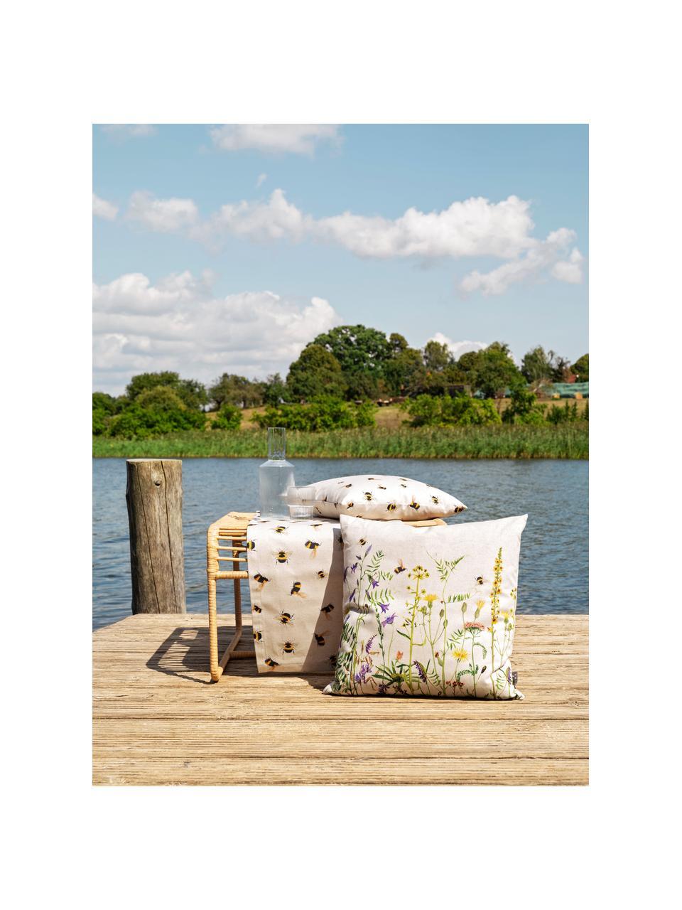 Federa arredo reversibile Biene & Co, 85% cotone, 15% lino, Beige, multicolore, Larg. 50 x Lung. 50 cm