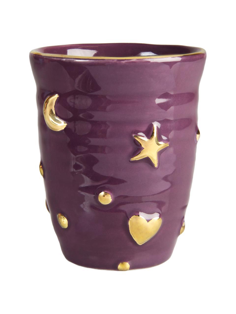 Komplet ręcznie wykonanych kubków Anouk, 4 elem., Porcelana, Fioletowy, jasny niebieski, czerwony, blady różowy, odcienie złotego, Ø 8 x W 10 cm