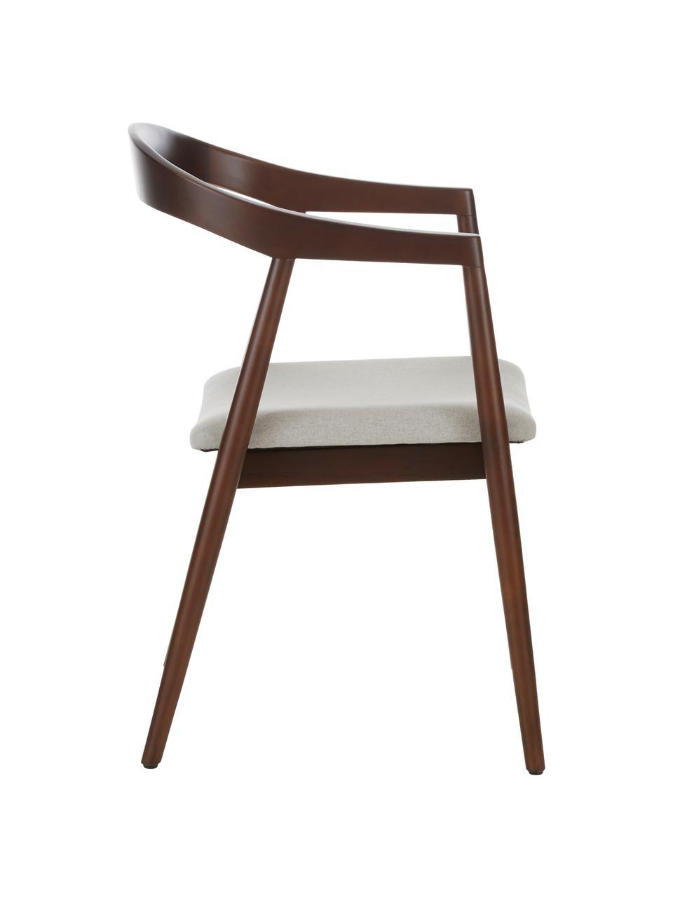 Krzesło z podłokietnikami  z drewna brzozowego Lloyd, Tapicerka: poliester Dzięki tkaninie, Stelaż: drewno brzozowe, sklejka, Beżowy, drewno brzozowe, S 57 x G 54 cm