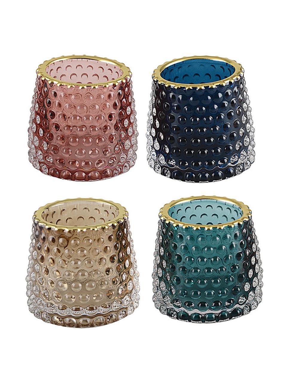 Teelichthalter-Set Rimmon, 4-tlg., Glas, Mehrfarbig, Goldfarben, Ø 8 x H 7 cm