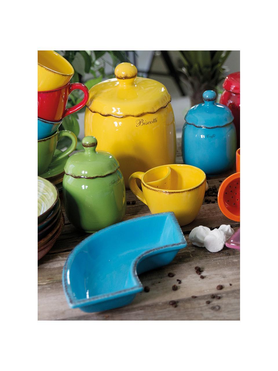 Set 6 tazzine da caffè dipinte a mano con piattino Baita, Gres (pietra dolomitica) dipinta a mano, Multicolore, 90 ml