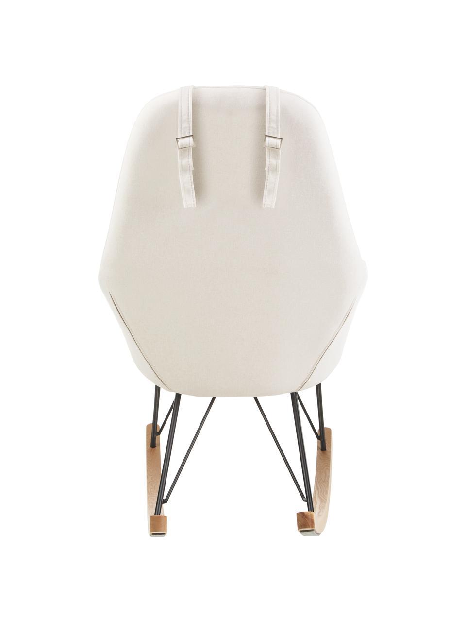 Mecedora Jolene, Tapizado: 100%poliéster Alta resis, Estructura: metal con pintura en polv, Patas: madera de fresno maciza, Blanco crema, An 66 x F 102 cm