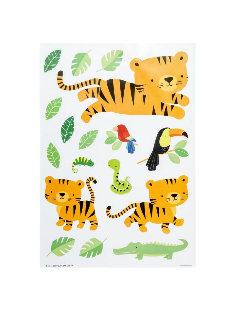 Wandaufkleber-Set Jungle Tiger, 17-tlg. , Kunststoff, Mehrfarbig, 35 x 50 cm