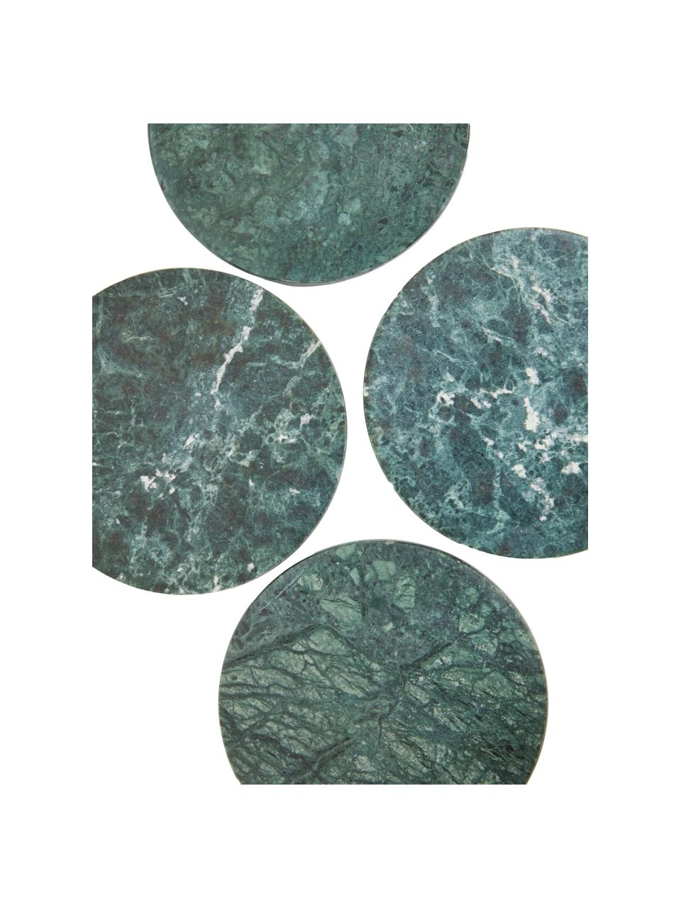 Marmor-Untersetzer Tressa in Grün, 4 Stück, Marmor, Grün, marmoriert, Ø 10 x H 1 cm
