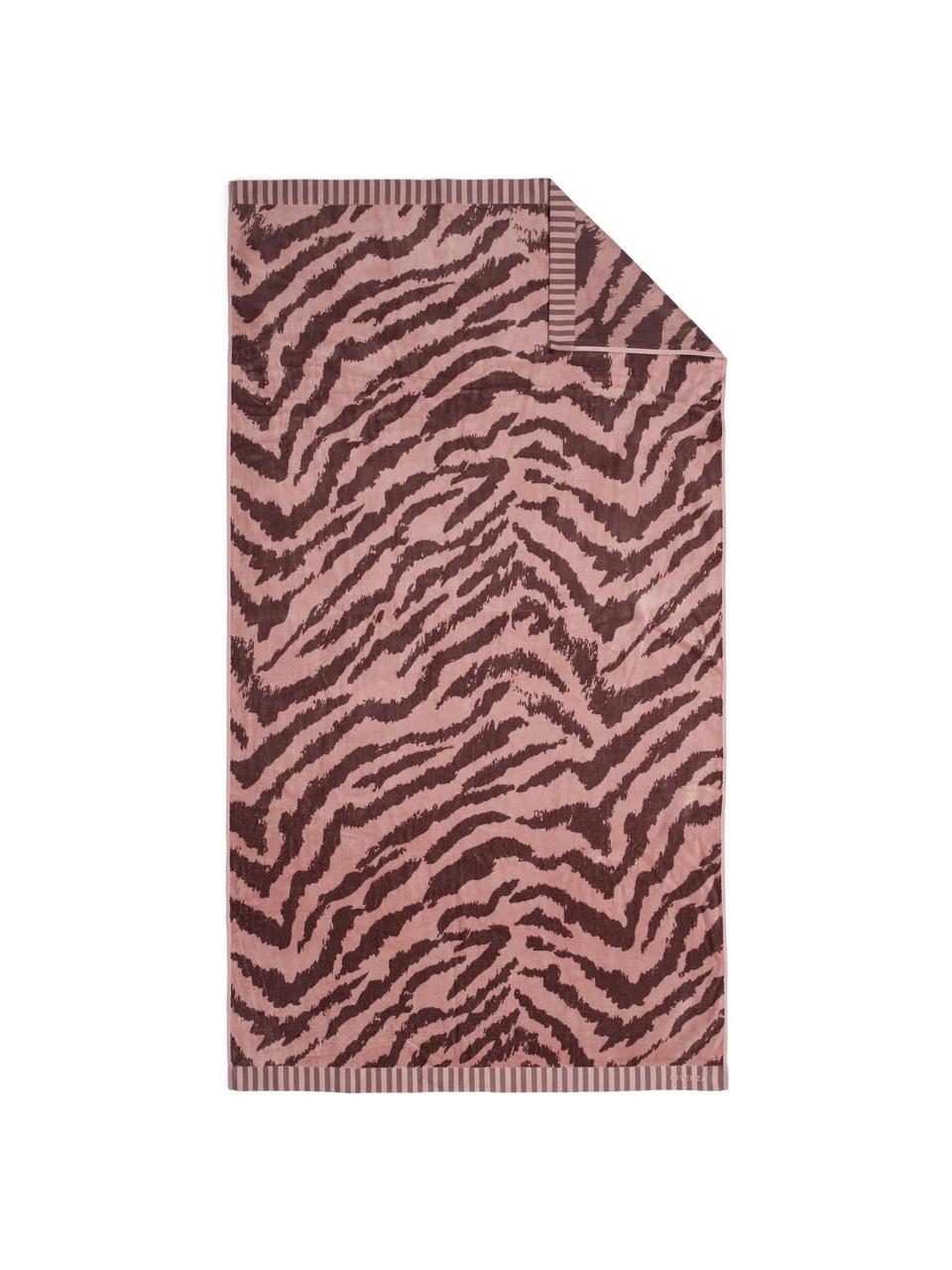 Strandlaken Belen met zebrapatroon in rood/roze, Roze, donkerrood, 100 x 180 cm