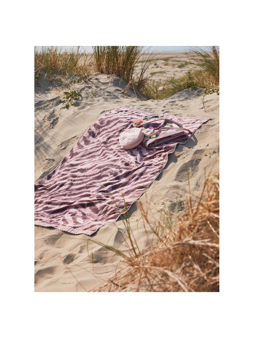Plážová osuška se vzorem zebry Belen, Růžová, švestková