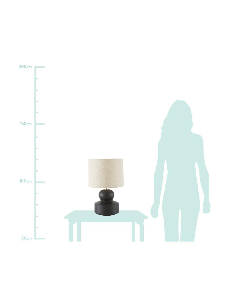 Grote keramische tafellamp Georgina, Lampenkap: textiel, Lampvoet: keramiek, Decoratie: vermessingd metaal, Beige, zwart, Ø 33 x H 52 cm