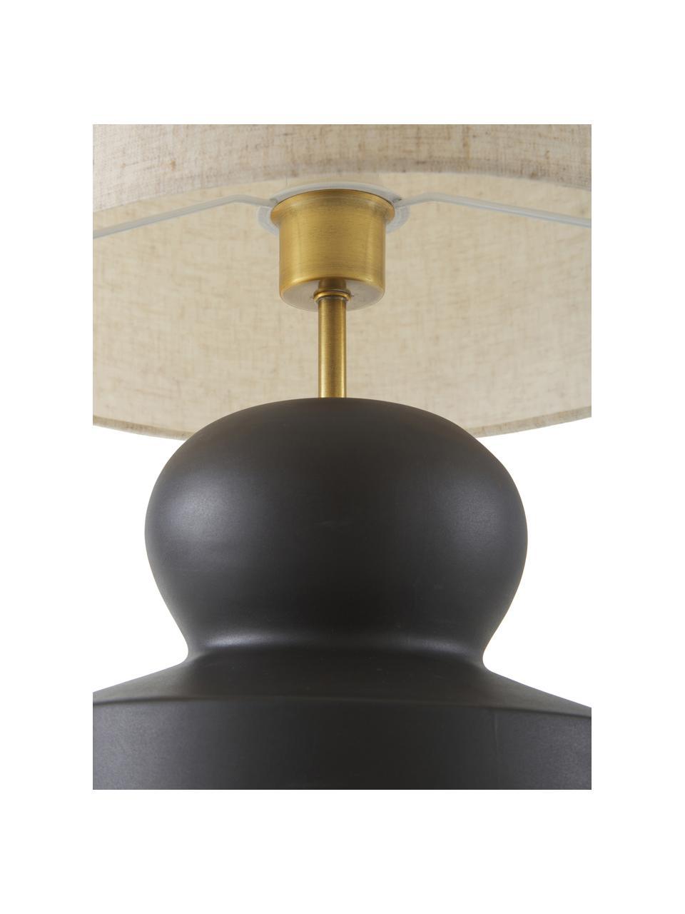 Lampada da tavolo con base in ceramica Georgina, Paralume: tessuto, Base della lampada: ceramica, Decorazione: metallo ottonato, Beige, nero, Ø 33 x Alt. 52 cm