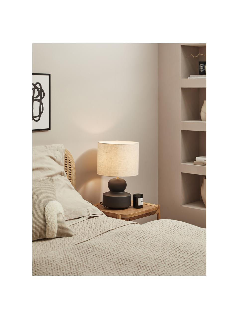 Große Keramik-Tischlampe Georgina, Lampenschirm: Textil, Lampenfuß: Keramik, Dekor: Metall, vermessingt, Beige, Schwarz, Ø 33 x H 52 cm