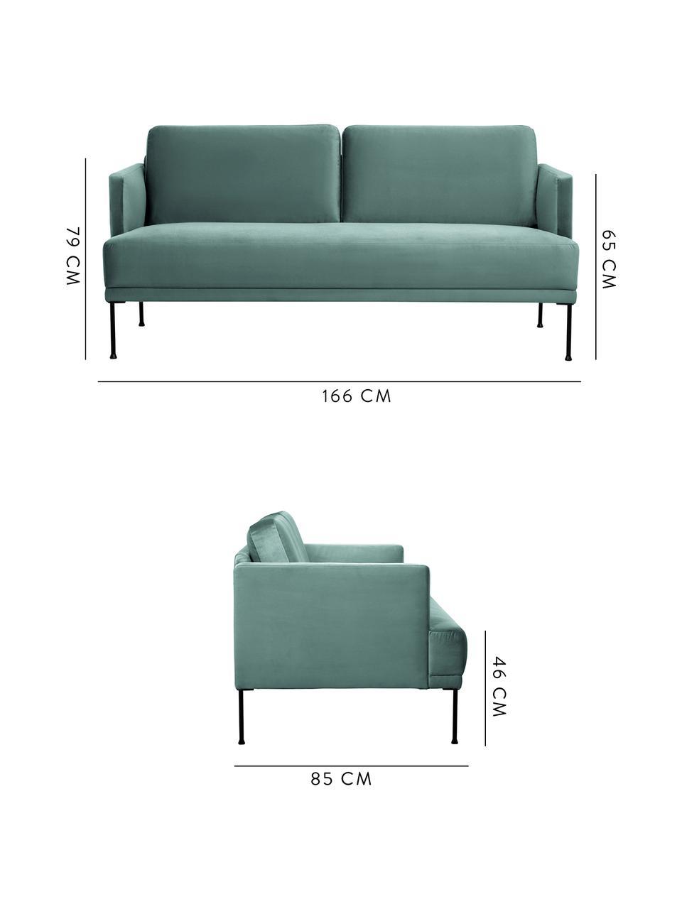 Samt-Sofa Fluente (2-Sitzer) in Hellgrün mit Metall-Füßen, Bezug: Samt (Hochwertiger Polyes, Gestell: Massives Kiefernholz, Füße: Metall, pulverbeschichtet, Samt Hellgrün, B 166 x T 85 cm