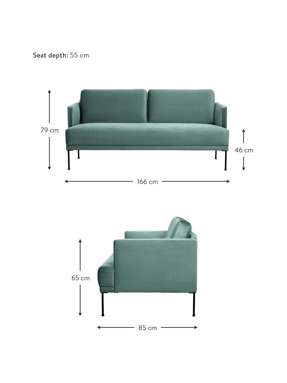 Sofa z aksamitu z metalowymi nogami Fluente (2-osobowa), Tapicerka: aksamit (wysokiej jakości, Nogi: metal malowany proszkowo, Aksamitny jasny zielony, S 166 x G 85 cm