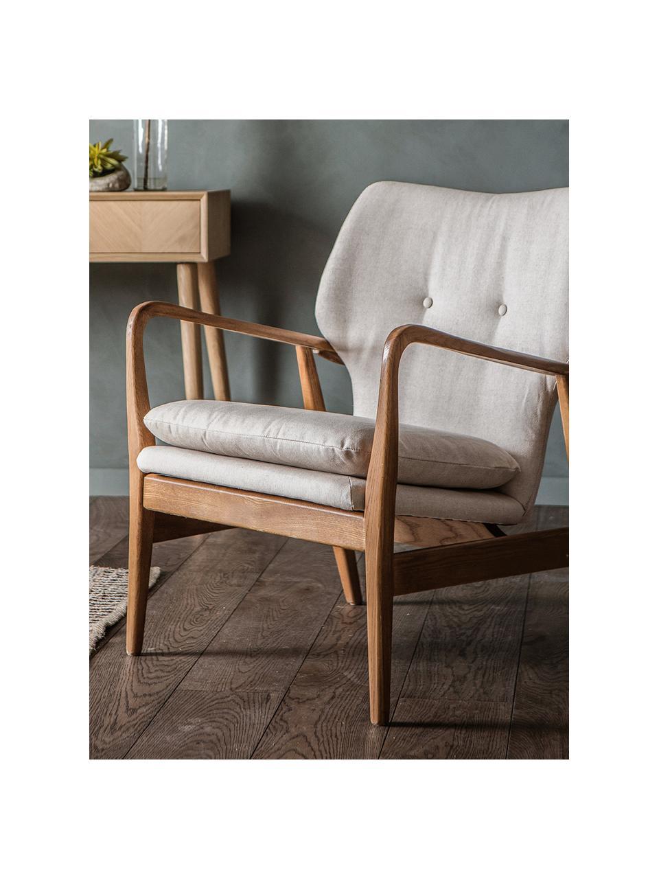 Fotel wypoczynkowy z drewna dębowego Jomlin, Tapicerka: len, Stelaż: drewno dębowe, Beżowy, S 70 x G 60 cm