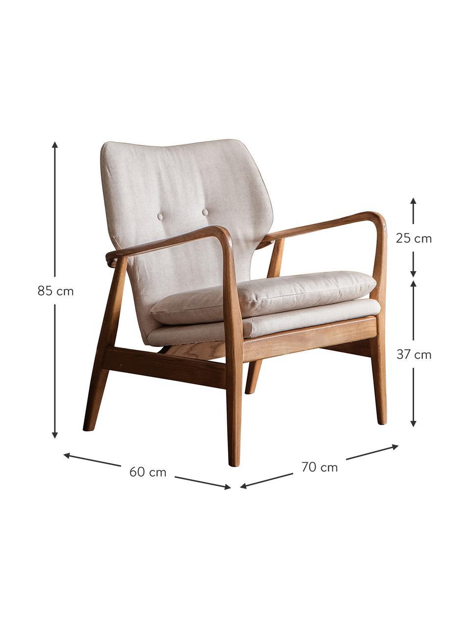 Loungefauteuil Jomlin van eikenhout, Bekleding: linnen, Frame: eikenhout, Beige, 70 x 60 cm