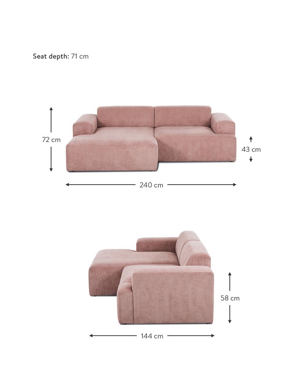 Cord-Ecksofa Melva (3-Sitzer) in Rosa, Bezug: Cord (92% Polyester, 8% P, Gestell: Massives Kiefernholz, Spa, Füße: Kiefernholz Die Füße befi, Cord Rosa, B 240 x T 144 cm